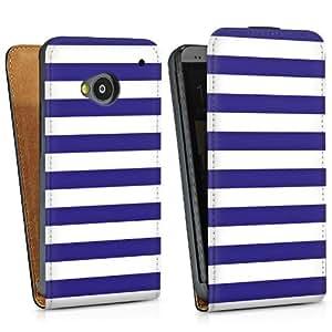Diseño para HTC One M7 DesignTasche Downflip black - Sailorstripes blau