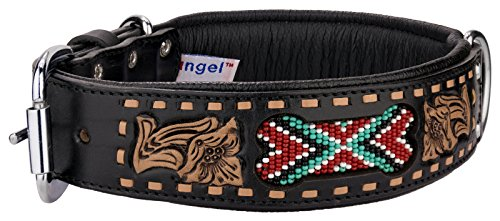Angel Pet Supplies 11090 Leather EL PASO Collar, 24'' x 1.5'', Midnight Black by Angel Pet Supplies Inc.