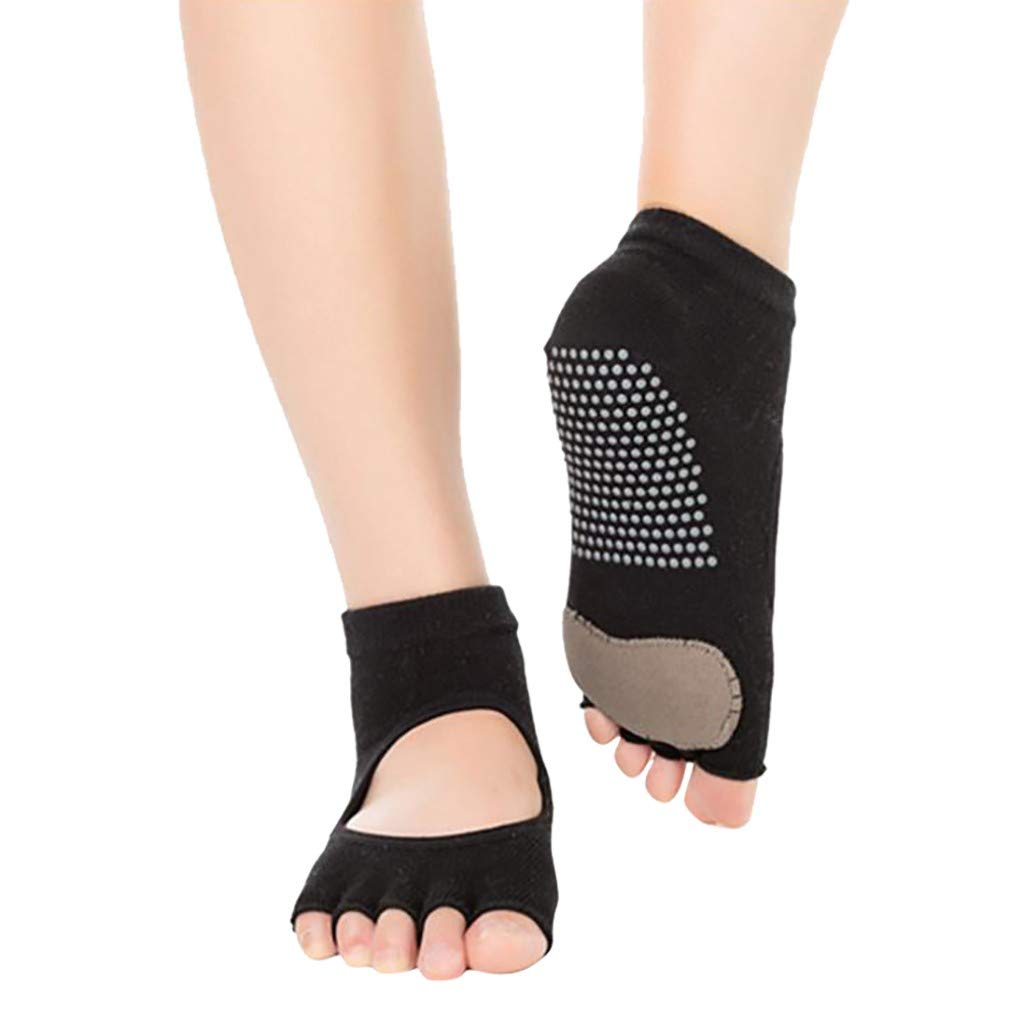 Fitness Finger-Separated Socks Sport Dance Socks Ballet Jinjin Backless Five-Toed Yoga Socks Non-Slip Thick Five-Finger Socks Non-Slip Five Toe Socks for Pilates Barre