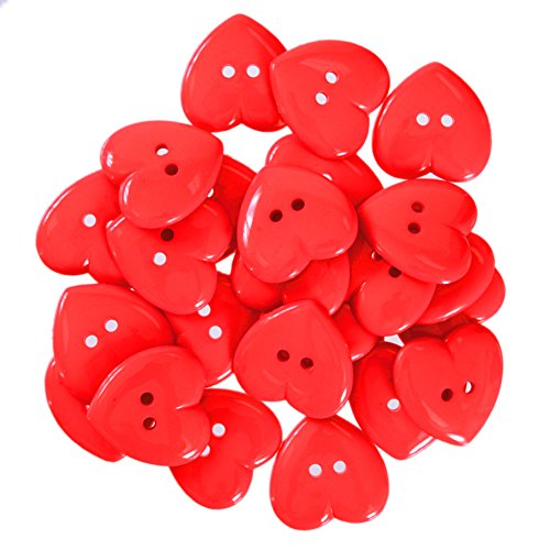 Mibo Nylon Heart Buttons 2 Hole 42 Line/27mm Red ()