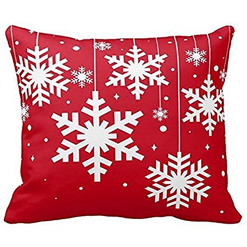 iYBUIA Merry Christmas Pillow Cases Cotton Linen Sofa Cushion Cover Home Decor (Macys Couch Covers)