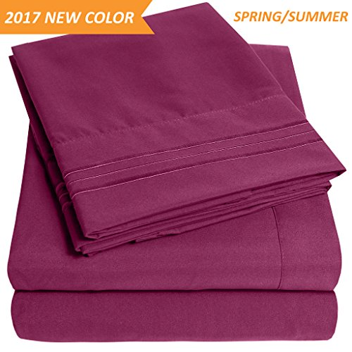 Berries 16 Piece Set (1500 Supreme Collection Extra Soft Queen Sheets Set, Berry - Luxury Bed Sheets Set With Deep Pocket Wrinkle Free Hypoallergenic Bedding, Over 40 Colors, Queen Size, Berry)