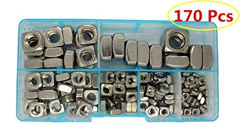 Guard4U 170Pcs Metric 304 Stainless Steel Square Nuts Assortment Kit, For M3 M4 M5 M6 M8 M10 screws bolt