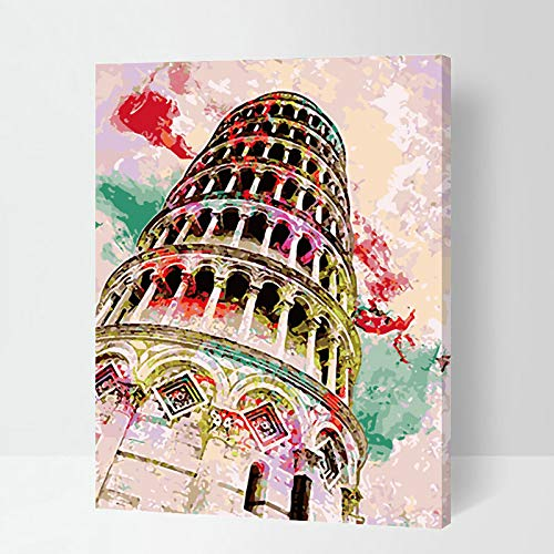 Paint by Number Kits - Italy Leaning Tower of Pisa 16x20 Inch Linen Canvas Paintworks - Digital Oil Painting Canvas Kits for Adults Children Kids Decorations Gifts (with Frame)
