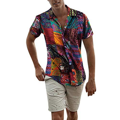 (Beautyfine Mens Ethnic Hawaiian Shirt Short Sleeve Casual Cotton Linen Printing T Shirt Blouse)