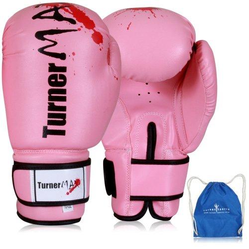 TurnerMAX Kick Boxing Gloves Martial Arts Sparring bag Pink 8oz with Free Parachute Goody Bag Blue