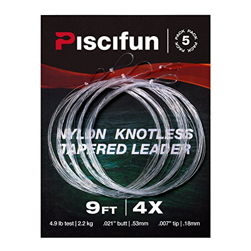 Piscifun Fly Fishing Tapered Leader with Loop-9ft 5 Pack 7x