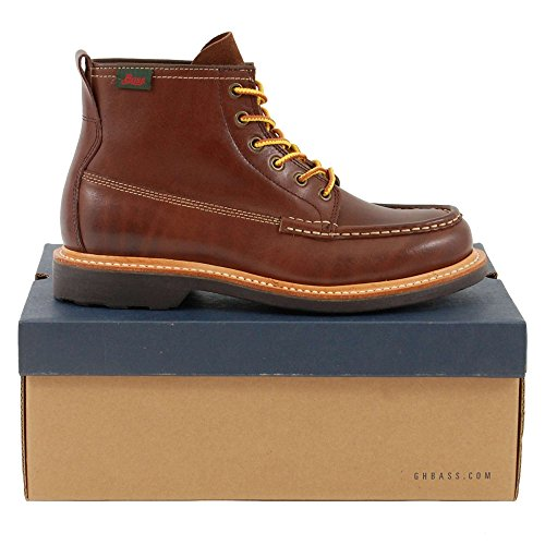 G.H. Bass & Co. Mens Quail Hunter Mid Lace Leather Boots Dark Brown