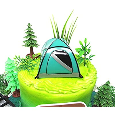 Outdoor Camping Hiking Recreational Themed Birthday Cake Topper Set with Themed Decorative Accessories: Toys & Games