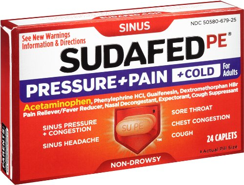 Sudafed PE Pressure Plus Pain Cold Caplet, 24 Count