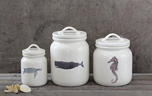 Dolomite Canister W/ Sea Life Images Seahorse Whale Tortoise & Lids Country Beach Nautical Home D