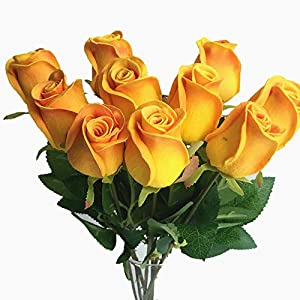 10pcs Real Touch Rose Simulated Fake Latex white/red/pink/yellow/champgne Roses 43cm for Wedding Party Artificial Decorative Flowers (champagne) 49