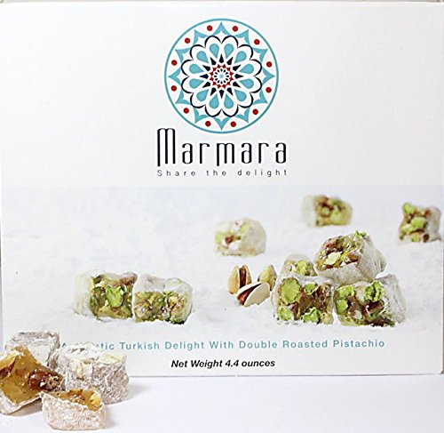 Turkish Delight with Double Roasted Pistachio Marmara Sweet Confectionery Gourmet Box Candy Dessert Medium 4.4 ounce