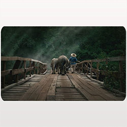 Custom Welcome Doormat Thai Farmer Bring Buffaloes Back Home Animals Wildlife Malaysia Nature Rustic Buffalo Floor Entrance Rug 18X30 Inches Indoor/Outdoor/Front Door Bathroom Mats Rubber Non Slip by AlliuCoo