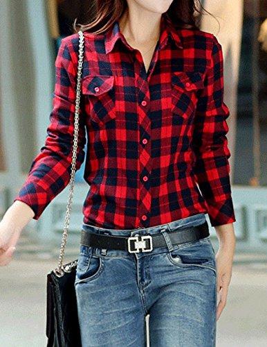 Printemps Chemisiers Monika Grille Manches Shirts Chemises Tops Longues Casual Slim Blouses Mode Revers Automne Rouge11 Hauts Femmes et Tee dqfnFRqZ