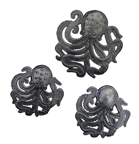 Octopus Family, Sea Life Metal Home Decor, Indoor or Outdoor, Under The sea, Beach Themed Art, Handmade in Haiti 7 7/8