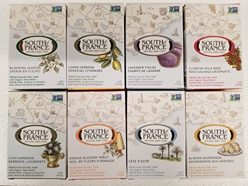 South of France Bar Soap Variety Pack (8 Scents 6 oz each) (Oil Jasmine Blossom Bath Orange)
