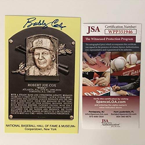 Autographed/Signed Bobby Cox HOF Hall Of Fame Baseball Plaque Postcard JSA COA from Phanatic Sports Memorabilia