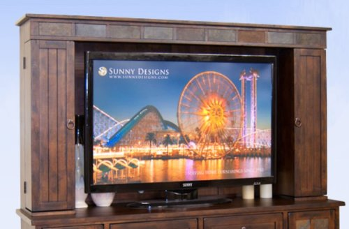 Sunny Designs Santa Fe Entertainment Wall Media Hutch on Dark Chocolate - Santa Fe Entertainment Wall