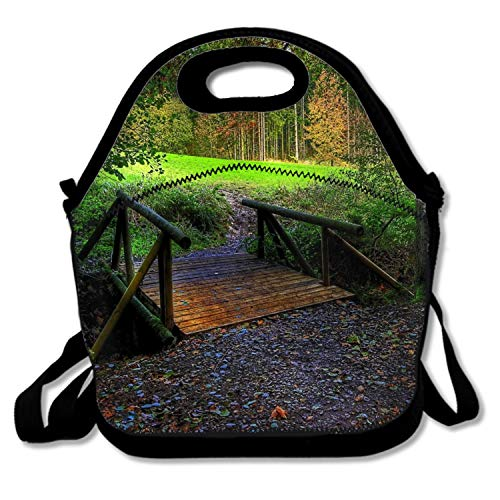 FONDTHEE Insulated Lunch Tote Bag Reusable Fall Season Leaf Road Forest Bridge Cooler Bags,Portable Lunchbox Handbag for Men Women Adult Kids Boys Girls