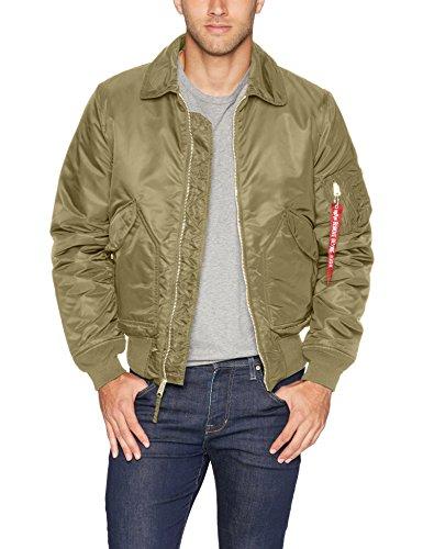 (Alpha Industries Men's CWU 45/P Slim Fit Flight Jacket, Vintage Olive, S)