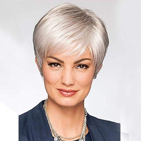 Pelucas rectas cortas con flequillo Pelucas de cabello sintético de color gris plateado para mujeres mayores