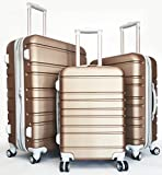 3 Pc Luggage Set Hardside Rolling 4wheel Spinner Upright Carryon Travel ABS Gold