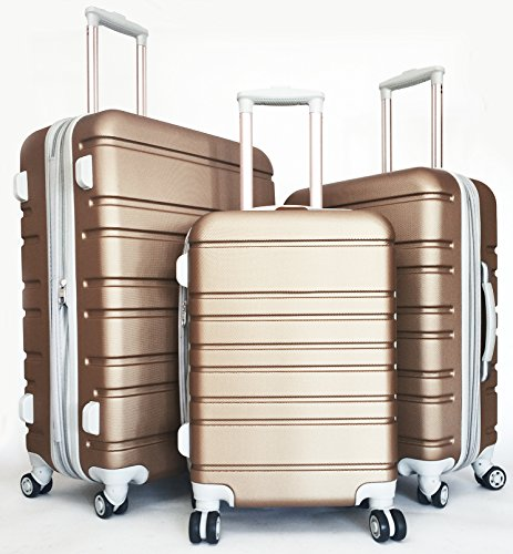 3 Pc Luggage Set Hardside Rolling 4wheel Spinner Upright Carryon Travel ABS Gold by TrendyFlyerCollection