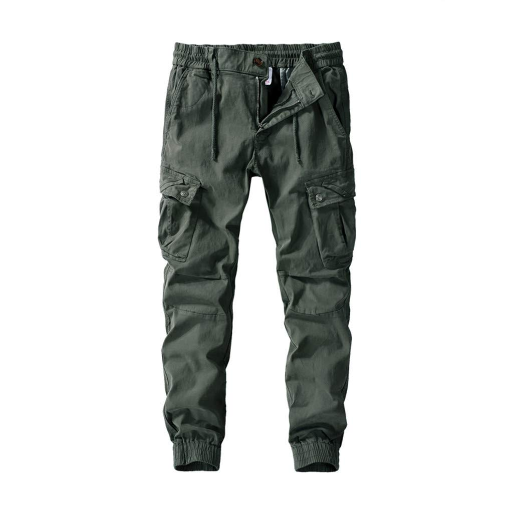 Yomiafy Men's Casual Pleated Multi Pockets Pants Fashion Loose Sport Jogger Trouser Army Green by Yomiafy-Men Pants