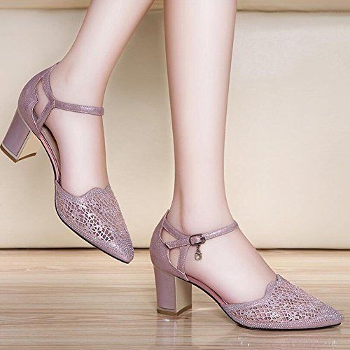 DALL Escarpins Ly-661 Tête Pointue Chaussures Pour Femmes Grossier Talon De Chaussure Talons Hauts Sandales Printemps Et Été 7cm De Haut (Couleur : Rose, taille : EU 39/UK6/CN 39) Rose
