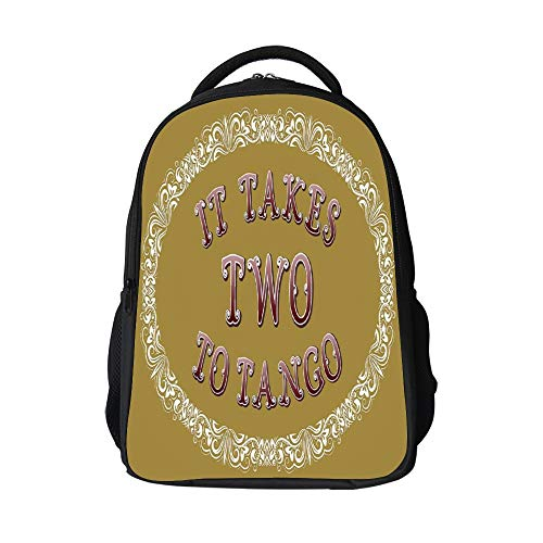 SARA NELL It Takes Two to Tango Cartoon Style English Kids School Backpack for Children Elementary School Bags Girls Boys Bookbags