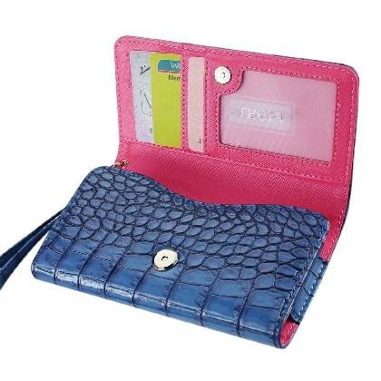 High Quality Leather Wallet Flip Carrying Case Pouch for ZTE nubia Z7 Max - with Card Holder and Removable Strap - Crocodile Pattern - Magnetic Clasp for Easy Phone Access - (Navy Blue Plus Interior Hot Pink) + Mini Touch Screen Stylus