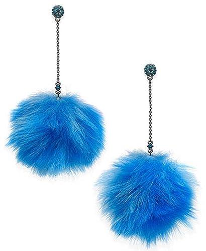 0f46f803e Amazon.com: Betsey Johnson Faux-Fur Pom Pom Earrings Blue Dangle Earrings  Trolls: Jewelry