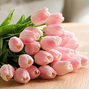 Artificial Tulips, Meiwo 10 Pcs Fake Tulips Flowers for Wedding Bouquets / Home Decor / Party / Graves Arrangement 4
