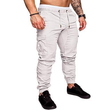 9737ac3ed341e OEAK Pantalon de Travail Homme Eté Long Pantalon avec Poche Cargo Unie (M,  Blanc