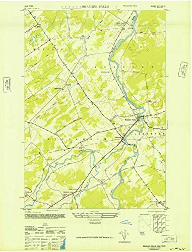 - YellowMaps Brasher Falls NY topo map, 1:24000 Scale, 7.5 X 7.5 Minute, Historical, 1946, Updated 1946, 28.9 x 22.1 in - Paper
