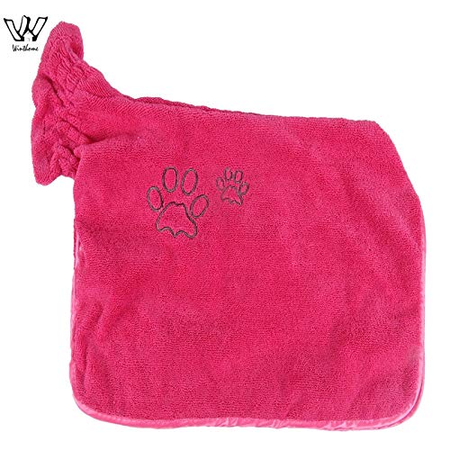 Dog Bathrobe Warm Pets Clothes Super Absorbent Pet Drying Towel Embroidery Paw Cat Hood Pet Bath Towel Grooming Pet Product Big