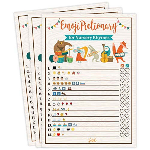 Baby Shower Games, 25 Emoji Pictionary For Nursery Rhymes, Fun Guessing Game, Gender Neutral Ideas Shower Party For Men, Women, Kids, Girls or Boys, and Couples, Cute Shower Party Bundle Set- Woodland]()