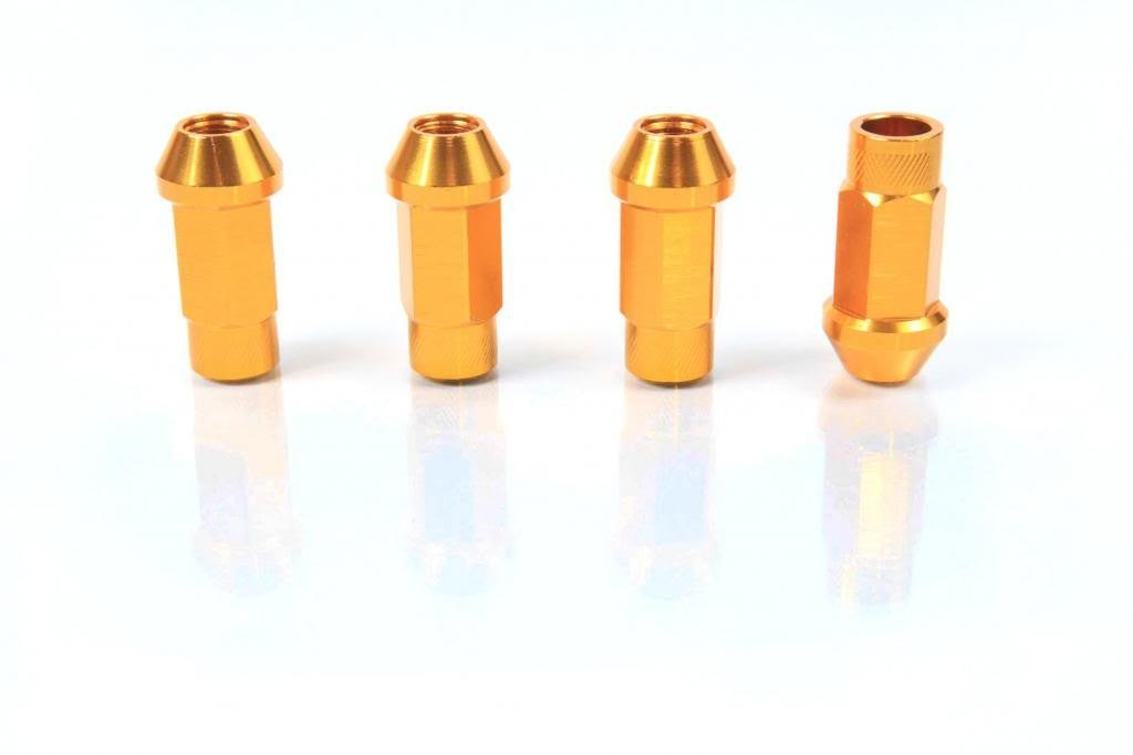 Orange - Anodized Aluminum - 50mm Racing Wheel Open End LUG NUT for HUMMER 06-Present H3, H3X, H3 ALPHA BASE LUXURY