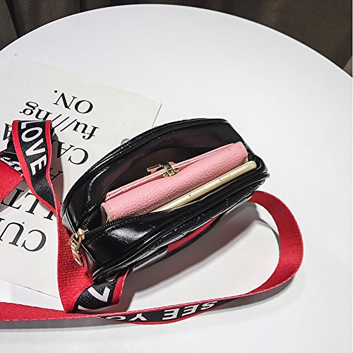 Negro Rebordear Mujer Rojo Shoulder Plateado para Bag Rojo Cremallera rojo PU Sling Bolsos GMYAN n0S1zWCw