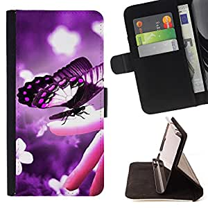 King Air - Premium PU Leather Wallet Case with Card Slots, Cash Compartment and Detachable Wrist Strap FOR HTC Desire D816 816 d816t- Butterfly Fly