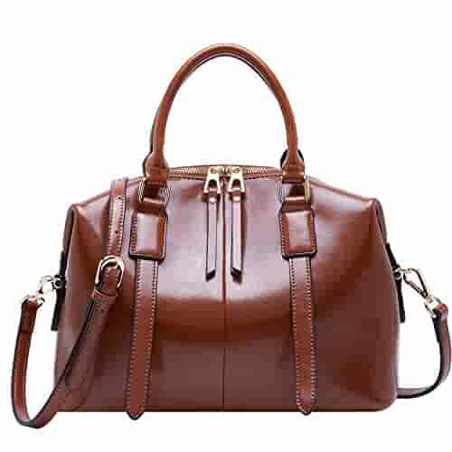 Genuine Leather Purse and Handbags for Women Top Handle Satchel Shoulder Bag (Coffee Brown)