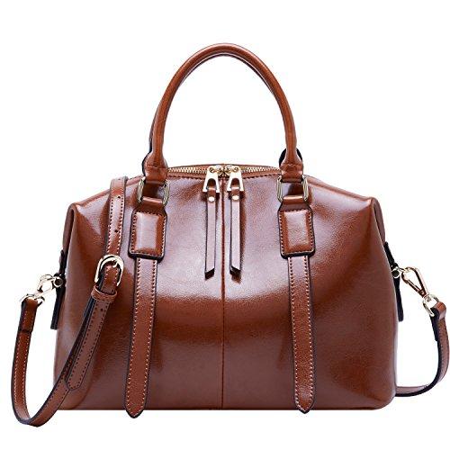 BOYATU Ladies Leather Crossbody Bags Handbags Satchel Totes Purse for Women (Coffee (Light Brown Leather Bag)