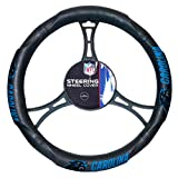 FN 15 X 15 Inches NFL Panthers Steering Wheel Cover, Football Themed Three Sides Team Logo Name Rubber Grip Sports Patterned, Team Logo Fan Merchandise Athletic Team Spirit, Black Blue Silver, Pvc