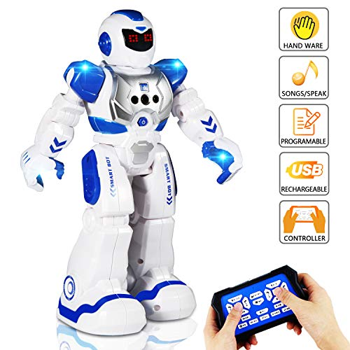 AILUKI Remote Control Robot Toy for Kids, RC Programmable Intelligent Gesture Sensing Robot Kit, LED Lights Singing Dancing Walking Smart Robotics , Gift for Boys Girls]()