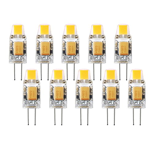 1.5w Led Spread Light - G4 LED Halogen Light Bulb 12V AC/DC Bi-Pin Base Waterproof Track Bulb Replacement 1.5W Dimmable Warm White 3000K (Pack of 10)