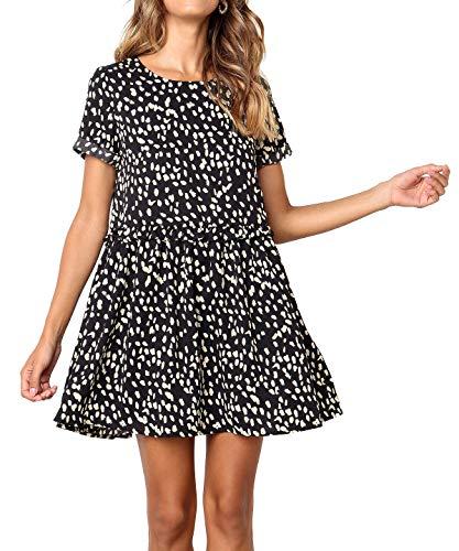 PinUp Angel Black Crewneck Peplum Polka Dot Loose Swing Casual Chiffon Short T-Shirt Dress