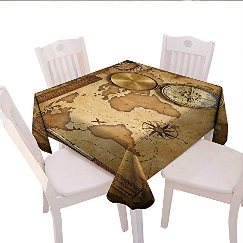 (longbuyer Map Linen Tablecloth Aged Vintage Treasure Map Ruler Rope Old Compass Antique Adventure Discovery Round Outdoor Tablecloth 60