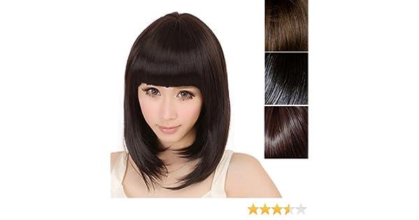 Malloom®moda mujer corto derecho flequillo completo BOBO pelo sintético cosplay peluca (negro): Amazon.es: Hogar