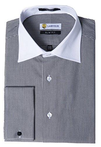 (Labiyeur Men's Slim Fit French Cuff Striped Dress Shirt 14.5 | 32-33 Black/White)